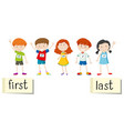 opposite wordcard for first and last vector image vector image