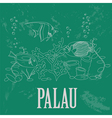 Palau Retro styled image vector image