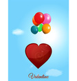 Red heart flying with balloons over blue sky vector image vector image