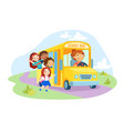 schoolkids characters enter yellow school bus with vector image