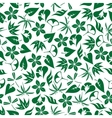 Seamless emerald green leaves and twigs pattern vector image