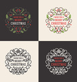 set christmas floral decorative greetings vector image