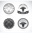 set cow labels on white background farm vector image