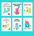 set of christmas cards with cute cats vector image vector image