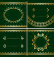 set of vintage golden frames on green backgrounds vector image vector image