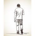 sketch walking man back view hand drawn