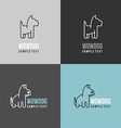 Thin Line Design Template Logotype Dog Logo with vector image