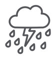 thunderstorm with rain line icon weather and vector image vector image