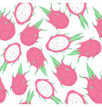 tropical seamless pattern with dragon fruit vector image vector image