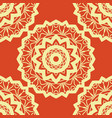 vintage mandala pattern retro yellow on red vector image vector image