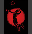 Volleyball player action cartoon graphic