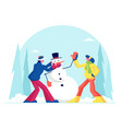 young man and woman in warm clothing making funny vector image