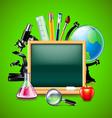 Blank green blackboard and other school tools vector image