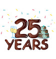 25th years anniversary celebration card vector image