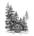 a wooden cabin in the pine forest idyllic winter vector image vector image