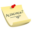 Alzheimer sticky note vector image