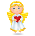 Angel with red heart vector image vector image