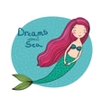 Beautiful cute cartoon mermaid with long hair