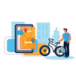 bike sharing and bicycle rental concept with man vector image vector image