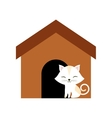 cat clossed eyes feline brown house vector image vector image