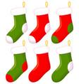 colorful cartoon christmas sock set vector image vector image