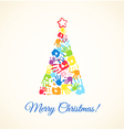 Colorful Christmas tree made of the handprints vector image vector image