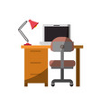 colorful graphic of desk home with chair and lamp vector image vector image