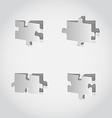 Cut out set puzzle pieces grey paper vector image vector image