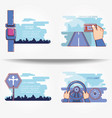 driver safely campaign set icons vector image vector image