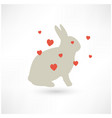 easter rabbit bunny silhouette with hearts vector image