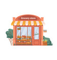 facade exterior grocery shop fruits vegetables vector image vector image