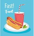 fast food hot dog and soda menu restaurant vector image