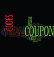 figis coupon codes text background word cloud vector image vector image
