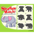 Game template for shadow matching elephant vector image