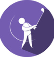 Golf icon on round badge vector image vector image