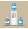 Gray water cooler with blue bottle vector image vector image
