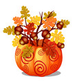 handmade autumn decor of sprigs of oak with vector image
