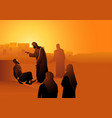 jesus heals man with leprosy vector image vector image