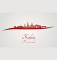 kalisz skyline in red vector image vector image