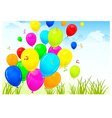 landscape with color balloons vector image