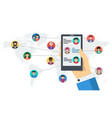 long banner - social networking by smartphone vector image vector image