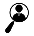 magnifying glass zooming a businessman icon vector image vector image