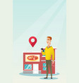 man looking for a restaurant in his smartphone vector image vector image