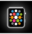 Modern shiny smart watch with applications icons vector image