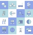 Network icons set flat line vector image vector image