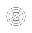 no mobile phone sign line vector image vector image