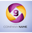 Number nine logo symbol in the colorful circle vector image