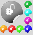 open lock icon sign Set of eight multi colored vector image
