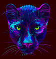 panther abstract multi-colored neon portrait