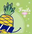 pineapple with sunglasses cute fruit cartoons vector image vector image